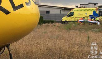 Evacuado en helicóptero de rescate un varón de 80 años que había sufrido una caída de bici en Aldeamayor